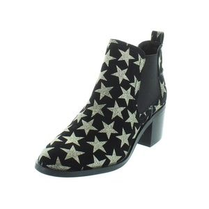Steve Madden Star Audio Black Glitter Booties Shoe for sale